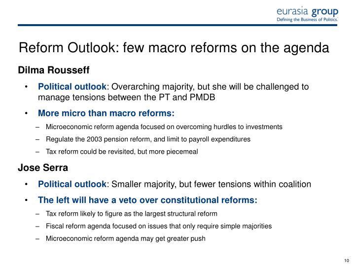 Reform Outlook: few macro reforms on the agenda