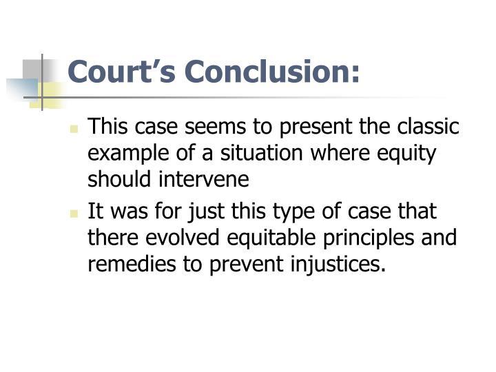 Court's Conclusion: