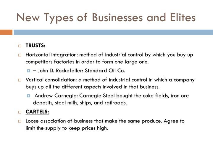 New Types of Businesses and Elites