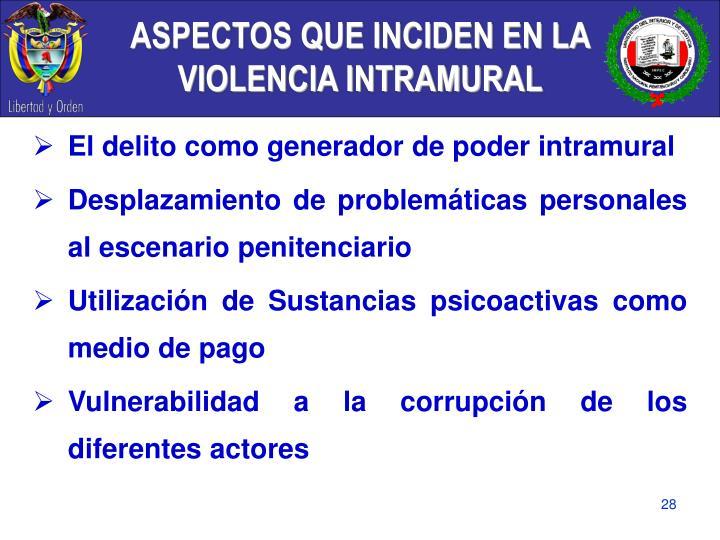 ASPECTOS QUE INCIDEN EN LA VIOLENCIA INTRAMURAL