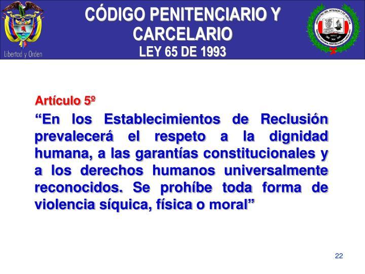 CÓDIGO PENITENCIARIO Y CARCELARIO