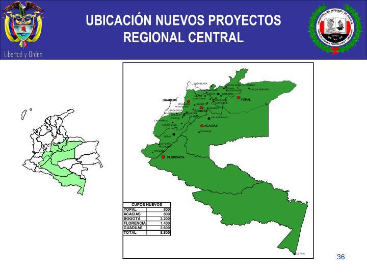 UBICACIÓN NUEVOS PROYECTOS  REGIONAL CENTRAL
