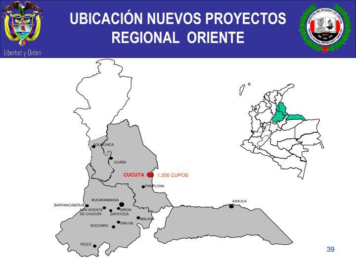 UBICACIÓN NUEVOS PROYECTOS  REGIONAL  ORIENTE