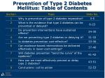 prevention of type 2 diabetes mellitus table of contents