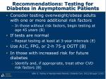 recommendations testing for diabetes in asymptomatic patients