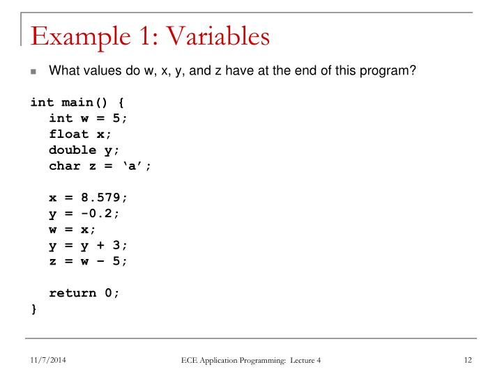 Example 1: Variables