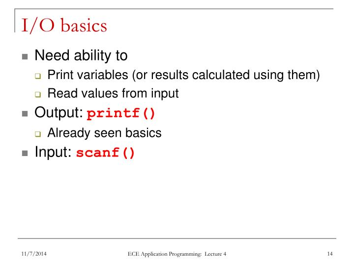 I/O basics