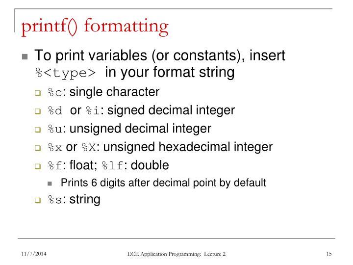 printf() formatting