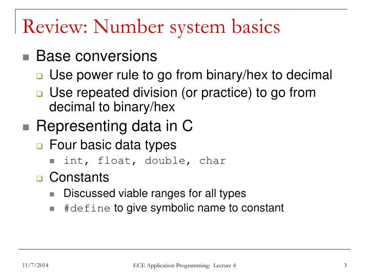 Review number system basics