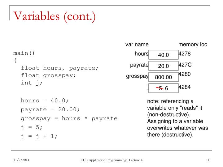 Variables (cont.)