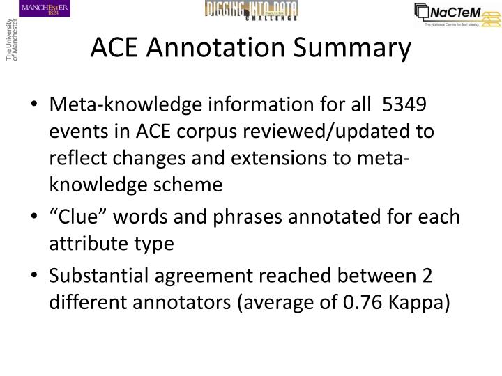 ACE Annotation Summary