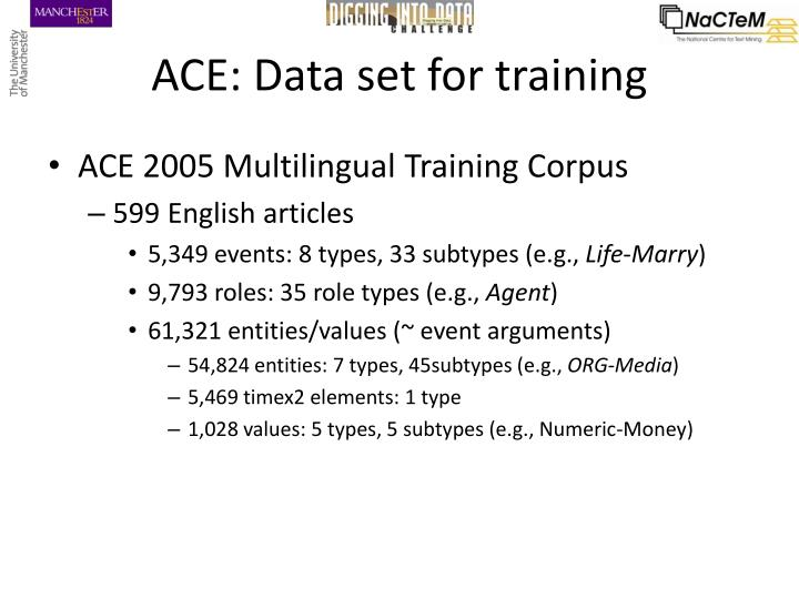 ACE: Data set for training