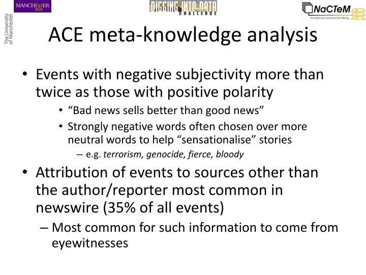 ACE meta-knowledge analysis