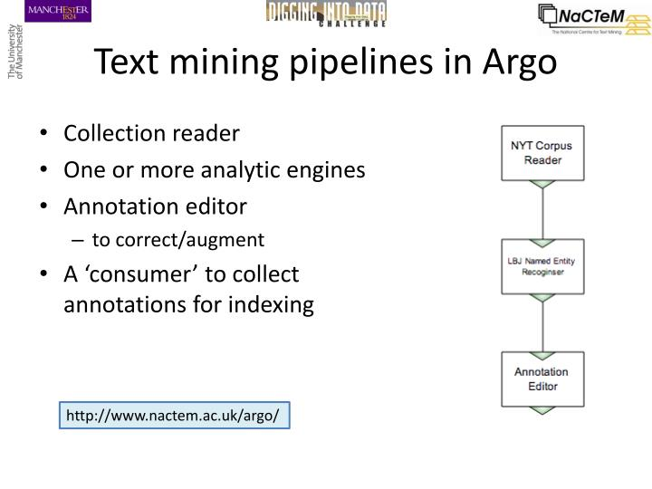 Text mining pipelines in Argo