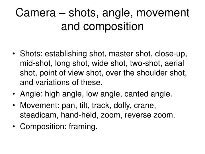 Camera – shots, angle, movement and composition