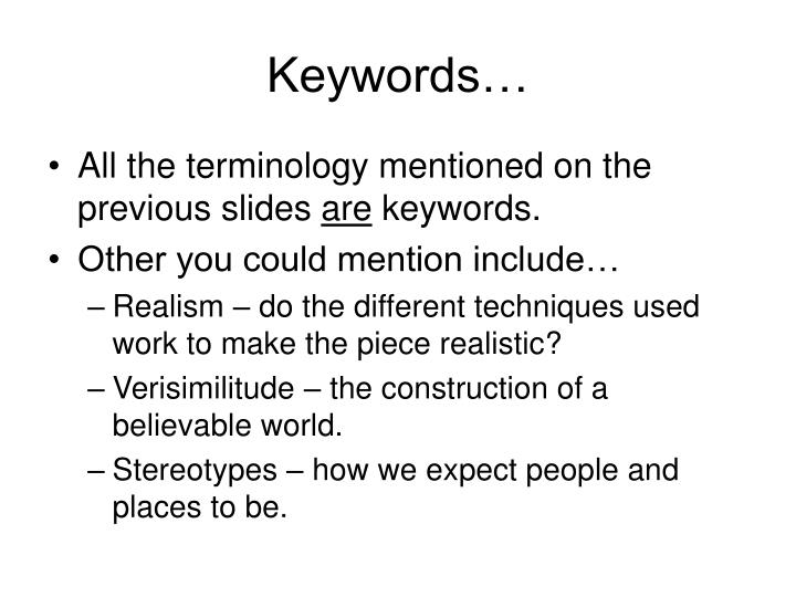 Keywords…