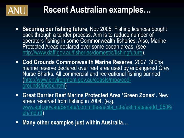 Recent Australian examples…