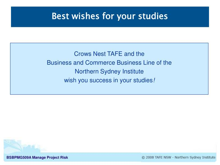 Best wishes for your studies