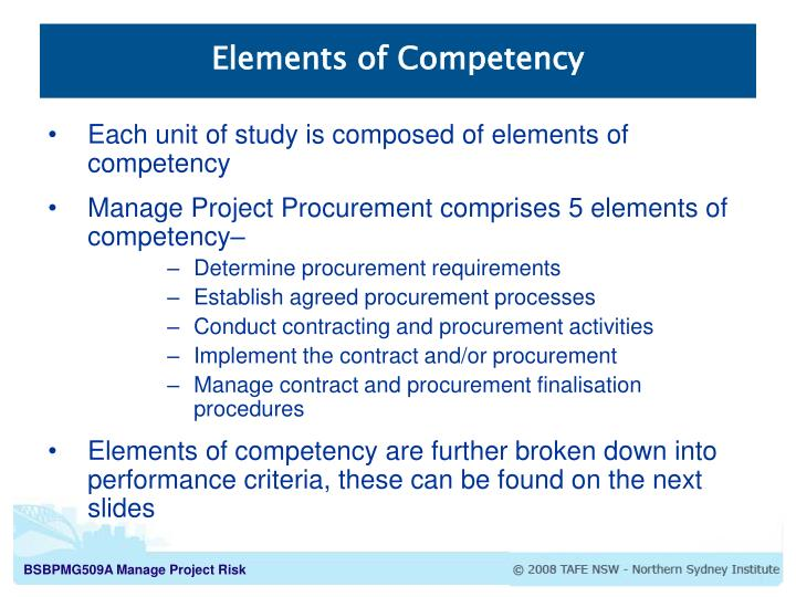 Elements of Competency