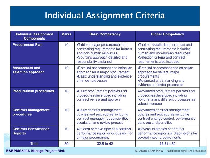 Individual Assignment Criteria