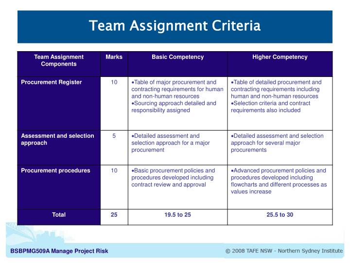 Team Assignment Criteria