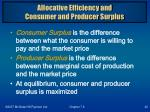 allocative efficiency and consumer and producer surplus