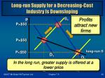 long run supply for a decreasing cost industry is downsloping