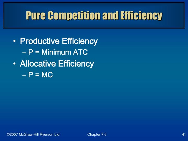 Pure Competition and Efficiency