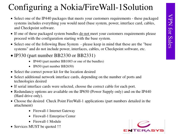 Configuring a Nokia/FireWall-1Solution