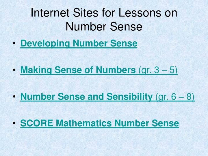 Internet sites for lessons on number sense