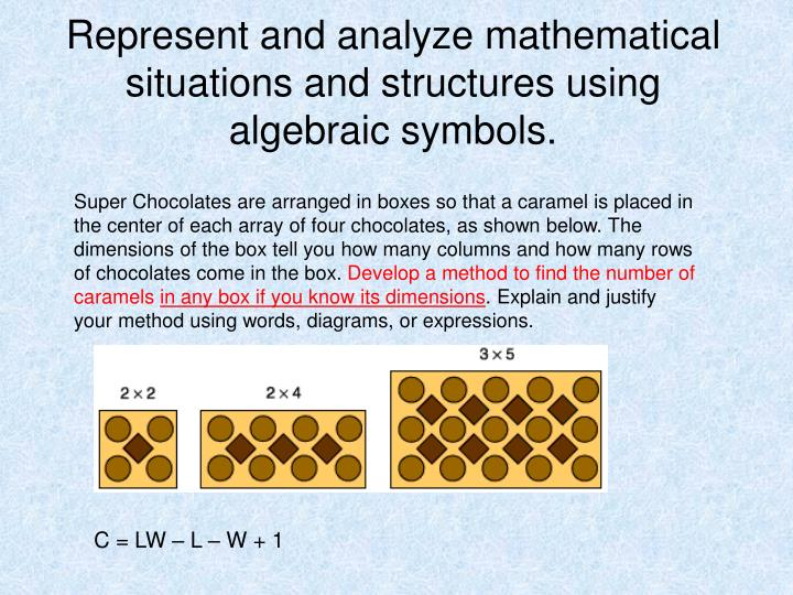 Represent and analyze mathematical situations and structures using algebraic symbols.