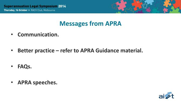 Messages from APRA