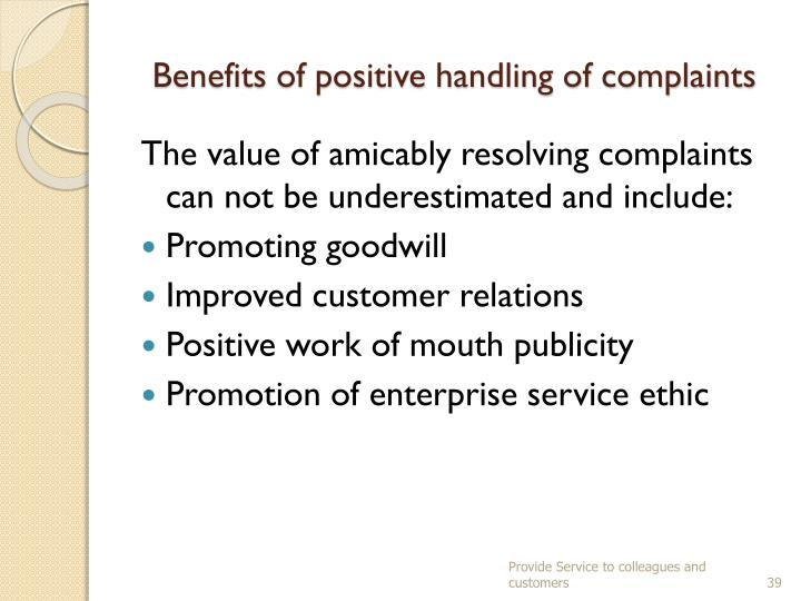 Benefits of positive handling of complaints