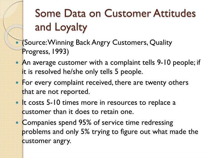 Some Data on Customer Attitudes and Loyalty