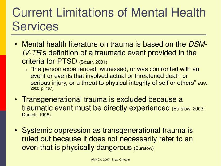 Current Limitations of Mental Health Services