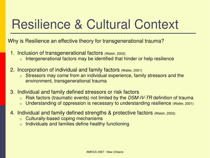 Resilience & Cultural Context