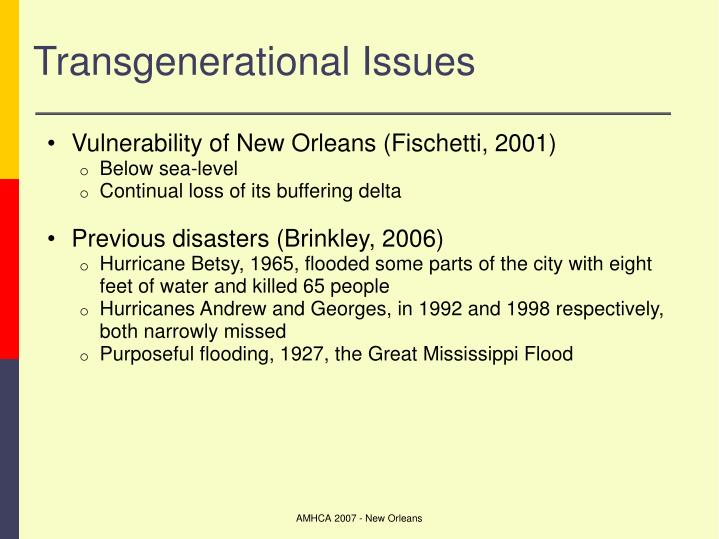 Transgenerational Issues