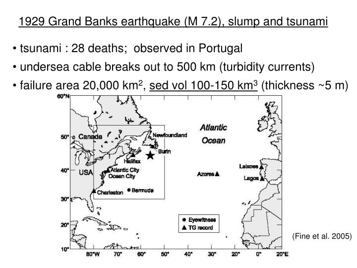 1929 Grand Banks earthquake (M 7.2), slump and tsunami