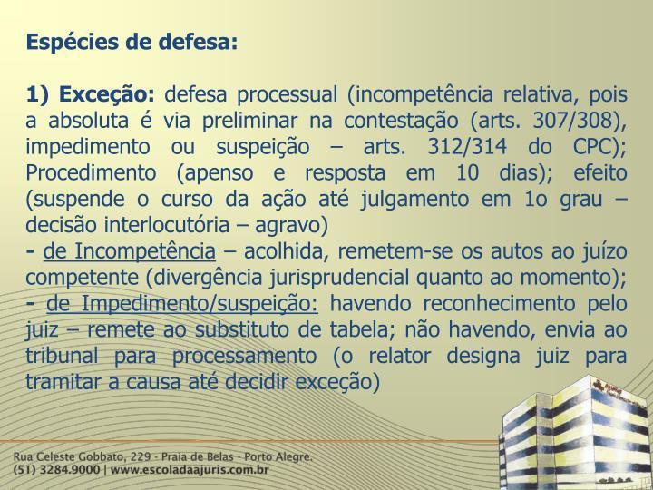 Espécies de defesa: