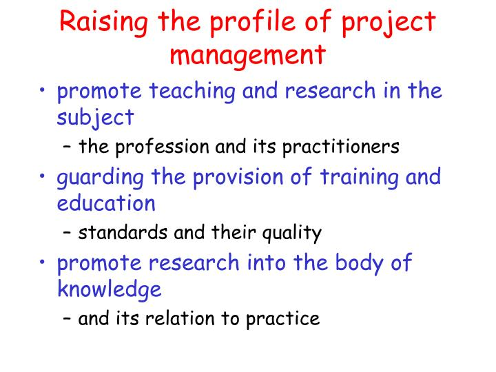 Raising the profile of project management