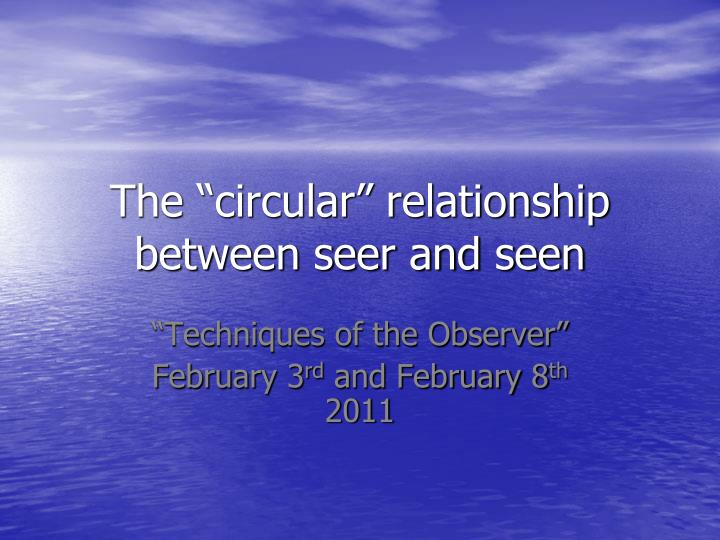 The circular relationship between seer and seen
