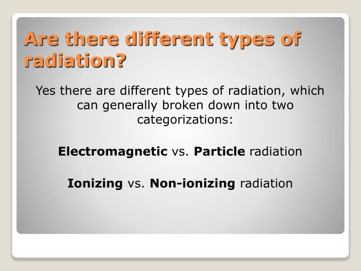 Are there different types of radiation