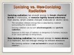 ionizing vs non ionizing radiation