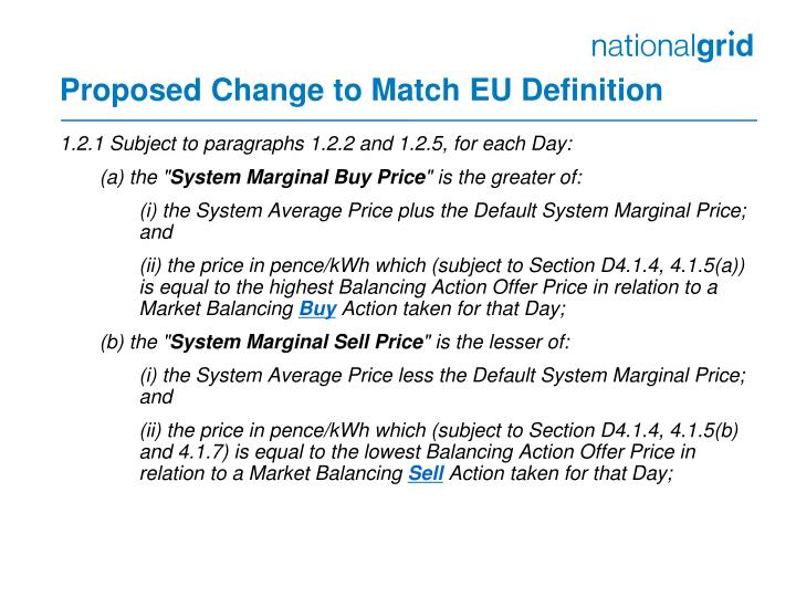 Proposed Change to Match EU Definition