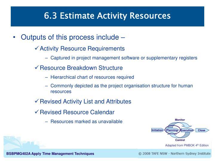 6.3 Estimate Activity Resources