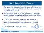 6 4 estimate activity duration