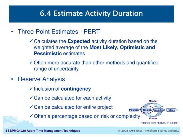 6.4 Estimate Activity Duration