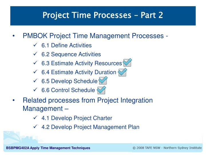 Project Time Processes – Part 2