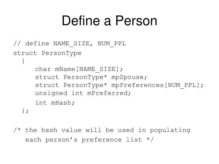 Define a Person