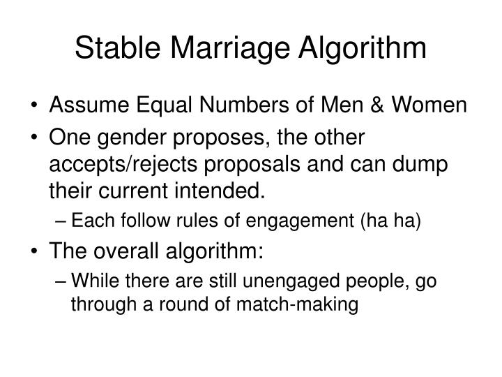 Stable marriage algorithm
